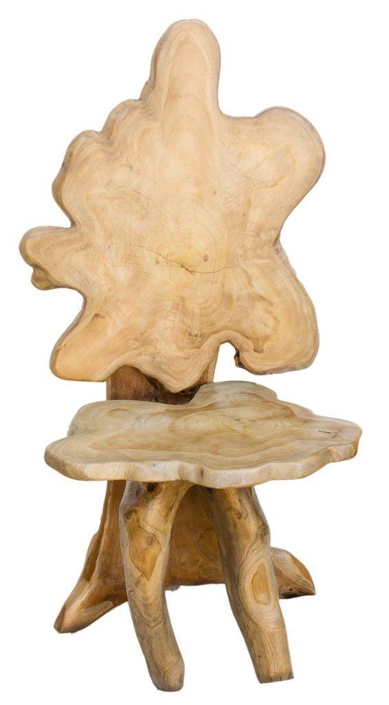 Lehnstuhl - Tisch Sessel - LUCKAS - h: 107cm - UNIKAT - Handgearbeitet aus Teak- Wurzelholz (wm714)
