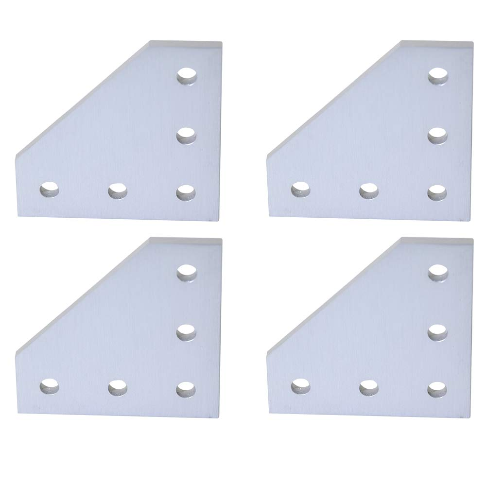 Boeray 4pcs 5 Hole 90 Degree L Shape Outside Joining Plate for 2020 Series Aluminum Profile Joint Bracket Plate