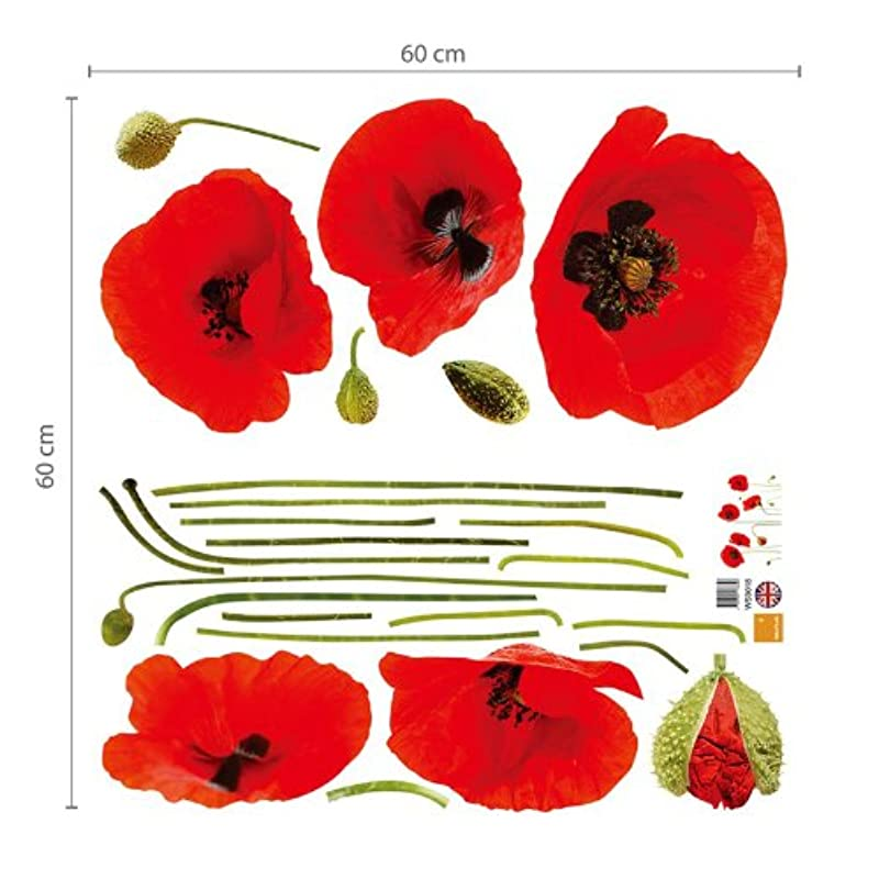 Us poppy flowers wall stickers removable transparent art decal home red poppies removable transparent wall stickers sticker art easy to replace and sticking and sticking for home decoration mightylinksfo