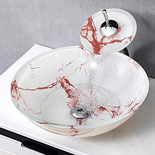 洗面化粧台シンク ラウンド強化ガラスの上カウンターラウンドバスルームシンク付きオイルラバーブロンズの蛇口、ポップアップコンボドレイン 和風 洋風 お洒落な 節水 節約 (Color : Red, Size : 42x42x14.5cm)