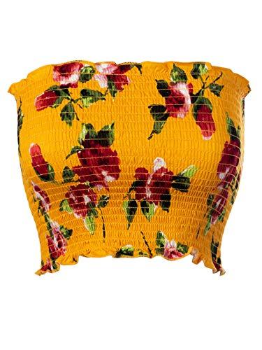 Top Flower Tube - MixMatchy Women's Floral Print Smocked Lettuce Edge Crop Tube Top Mustard M