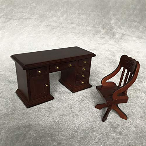 Karooch 1:12 Dollhouse Mini Solid Wood Multiple Drawers Desk and Armchair Set Doll House Decor Simulation Life Scene Model for Study Room Office - Victorian Dolls Mini