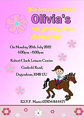 10 Personalised High Quality Horse Riding Birthday Party Invitations