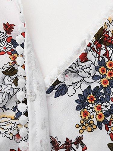 Boho Dress White Women's Summer Neck Short Mini Floral Cold BerryGo Backless V Shoulder fTBq8wwaxZ