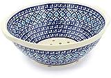 Polish Pottery 10-inch Colander (Blue Diamond Theme) + Certificate of Authenticity