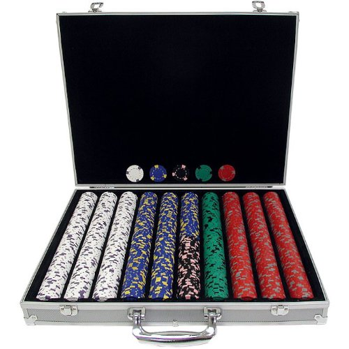 Trademark 1000  13  GM Pro Clay jetons de Casino avec é tui en Aluminium (Argent) Trademark Global 10-1500-1ks