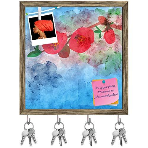 Artzfolio Watercolor Garnet Flower Key Holder Hooks | Notice Pin Board | Antique Golden Frame 16 X 16.8Inch