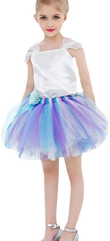 LSERVER Elegante falda con camisa blanca para baile para las ninas con encaje y lazo, azul violeta y blanco, 7-8 años(tamaño de fábrica : 150): Amazon.es: Ropa y accesorios