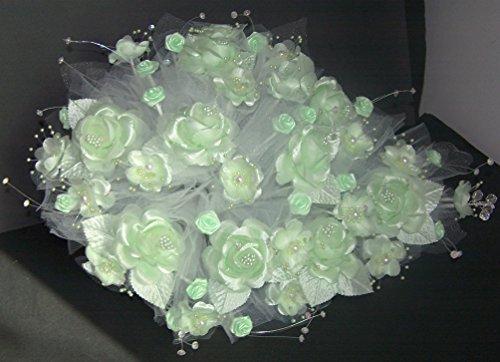 Tear Drop Bridal Quinceanera Sweet 15 Silk Flower Bouquets - US Handmade - Mint Green Color (18922 Z)