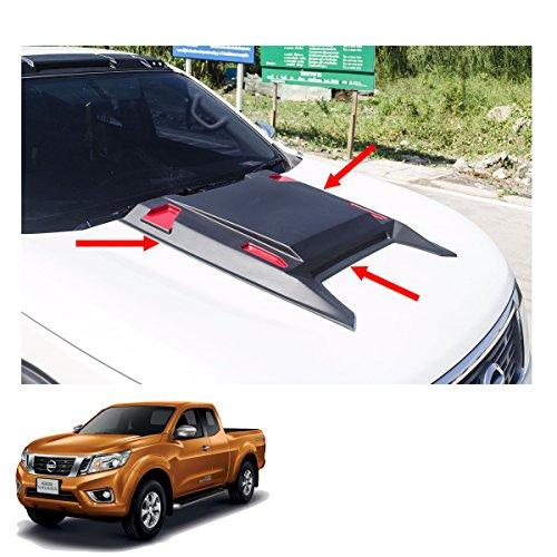 Powerwarauto Bonnet Hood Scoop Cover Black Red V1 1 Pc Trim For Nissan Np300 Navara D23 2Dr 4Dr 2015 2016 2017 2018