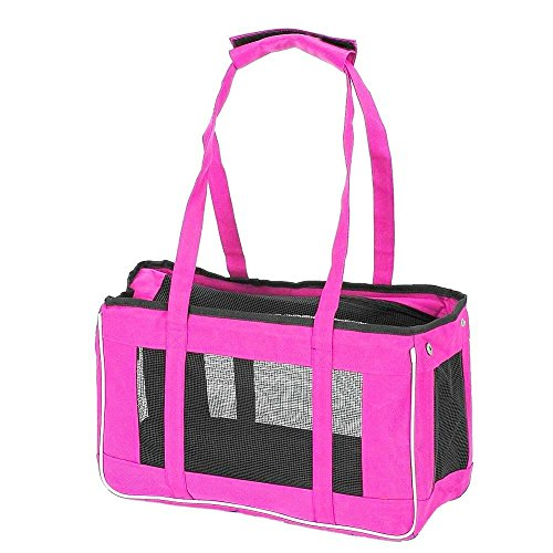 Caldor Hot Pink Soft Sided Pet Carrier Great for Small Pets Easy Carry on Bag for Traveling with your Pet (Small, Pink)