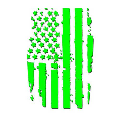 Tower Decals Lime Green American Flag Hood Blackout Vinyl Graphic Decal No Outline Fits Jeep Wrangler TJ LJ YJ
