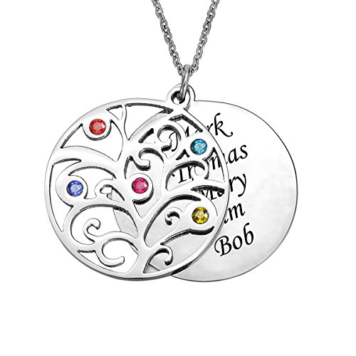 Valyria Personalized Family Tree Necklace Birthstones Pendant - Birthstone Necklace - Custom Made with Any Names - Personalized Family Tree Necklace