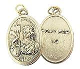 Silver Toned Base Saint Barbara Medal, 1 Inch, Set of 2
