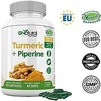 Curcuma e Piperina Plus. 95% di Curcumina.Massima Concentrazione Efficienza. Antinfiammatoria Digestivo Antiossidante Protettore Epatico.90 Capsule Vegetali. Certificato VEGANO CE.N2 Natural Nutrition