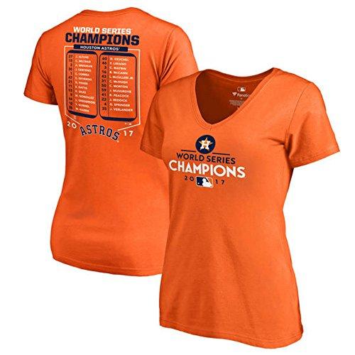Fanatics Branded Houston Astros Women's 2017 World Series Champions Roster V-Neck T-Shirt  Orange (Medium)