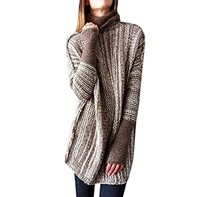 Womens Turtleneck Heathered Pullover Sweaters Long Sleeve Cable Knit Warm Chunky Oversized Fall Tops at Women's Clothing store