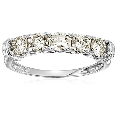 Cut 5 Stone Diamond Band - 1 cttw AGS Certified SI2-I1 5 Stone Diamond Ring 14K White Gold in Size 7