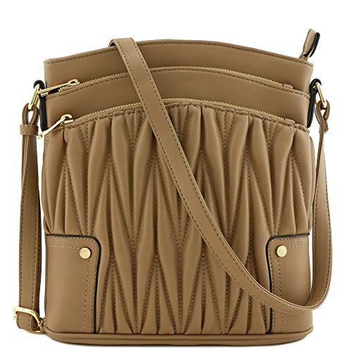 (Triple Zip Pocket Large Crossbody Bag (Quilted Taupe))