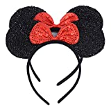 Set of 2 Black Glitter Red Sequin Bow Mickey Minnie Mouse Ears Headband Boys Girls Birthday Party Mom Hairs Accessories Baby Shower Headwear Halloween Party Decorations (Black Sequin Red)