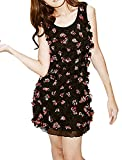 Women Sleeveless Round Neck 3D Flower Tank Dress Black S