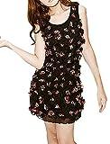 uxcell Women Sleeveless Round Neck 3D Flower Tank Dress Black S
