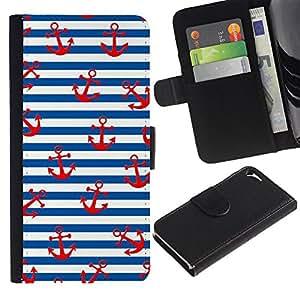 LASTONE PHONE CASE / Lujo Billetera de Cuero Caso del tirón Titular de la tarjeta Flip Carcasa Funda para Apple Iphone 5 / 5S / White Red Lines Sailor Anchor Sea