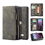 Huawei P20 Pro Wallet Case,Huawei P20 Pro Leather Wallet Case Flip Magnetic Detachable Case,Premium Cowhide Leather Purse Phone Cover with Flip Card Slots for Huawei P20 Pro (Huawei P20 Pro, Black)