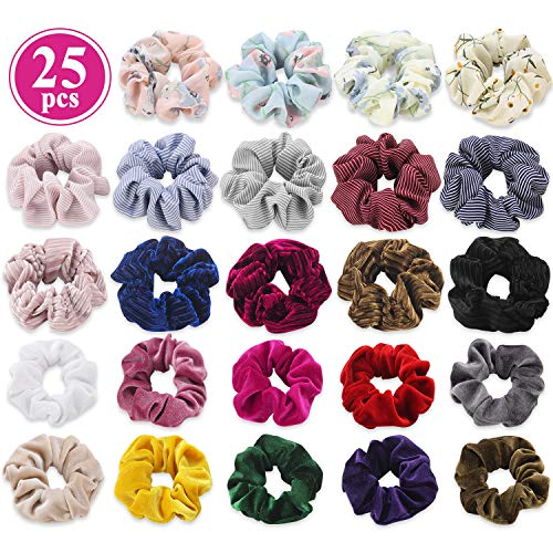 Scrunchies for Hair Mixed Set, Funtopia 25 Pcs Chiffon Flower Hair Scrunchies Velvet Scrunchies Striped Scrunchy Hair Ties Ropes Elastic Hair Bands Ponytail Holder Hair Scrunchies for Women Girls