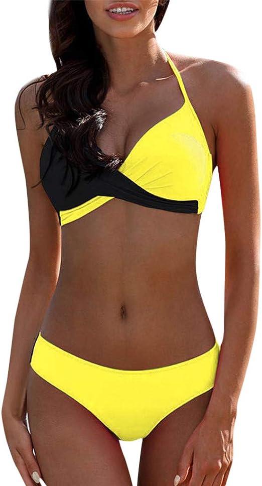 Traje de Baño Bikini Mujer 2020 Bikinis Sujetador Push-up Sexy Traje de Baño de Dos Piezas Bohemio BañAdores Tops y Braguitas Ropa de Playa vikinis riou: Amazon.es: Ropa y accesorios