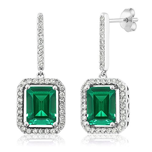 - Gem Stone King 925 Sterling Silver Green Simulated Emerald Earrings 4.96 Ctw Emerald Cut