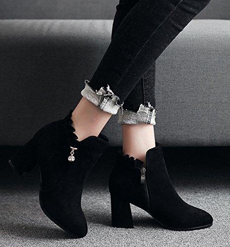 Aisun Medium Women's Toe Up Zip Block Comfy Heels Round Black Shoes Boots df4x4rqwYn