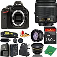 Great Value Bundle for D5200 DSLR – 18-55mm AF-P + 16GB Memory + Wide Angle + Telephoto Lens + Backpack