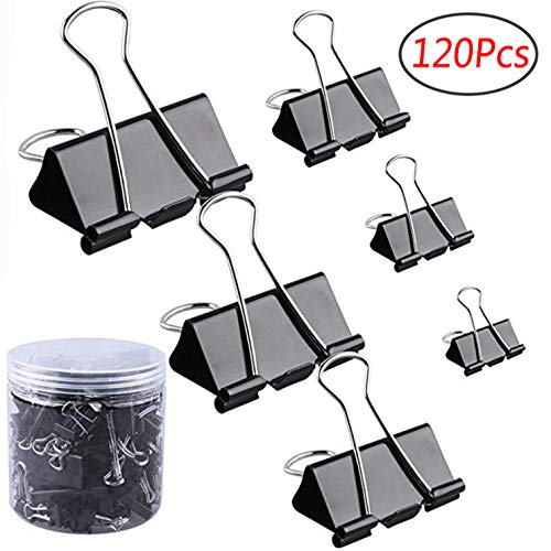 Codall 120 Pcs Binder Clips Paper Clamp for Paper, Assorted Sizes (Black) by Codall