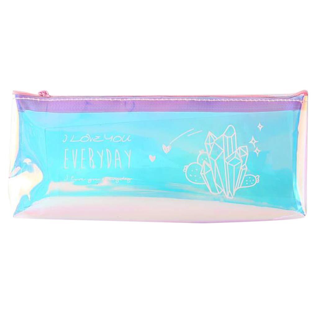 LGHH Laser Pencil Case Simple Transparent Pencil Bag Stationery Bag Storage Pencil Case,Bluepurple,D by LGHH