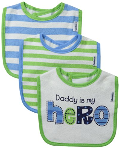 Gerber Baby Boys' 3 Pack Terry Dribbler Bibs, Green Stripes, One Size