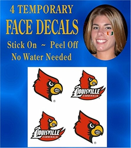 - Louisville Cardinals Face & Body Decals Temp Tattoos Set of 4 NCAA Licensed