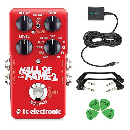 TC Electronic Hall of Fame 2 Reverb Foot Pedal - INCLUDES - Blucoil 9V Replacement Power Supply and 4 Pack of Guitar Picks PLUS 2 Hosa 6 inch Molded Right-Angle Guitar Patch Cables by blucoil