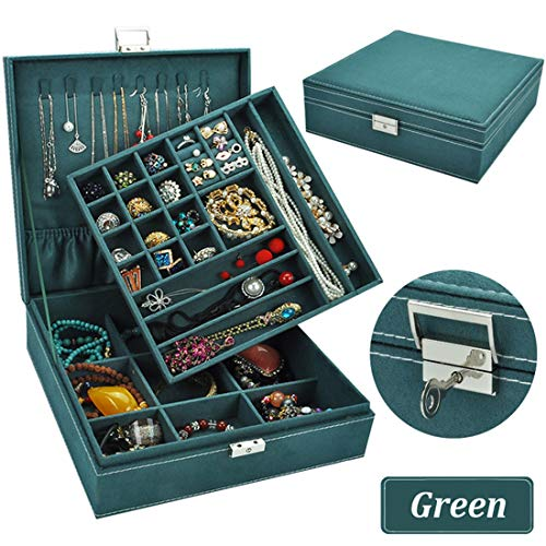 QBeel Jewelry Box for Women, Double Layer 36 Compartments Necklace Jewelry Organizer with Lock Jewelry Holder for Earrings Bracelets Rings - Green
