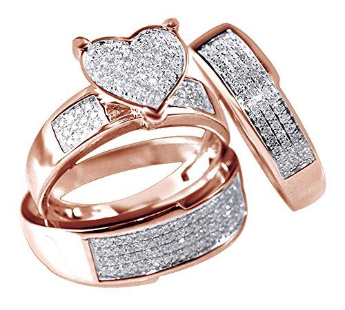 Set Trio Wedding Diamond - Jewel Zone US White Natural Diamond Heart Trio Wedding Ring Set in 14K Solid Rose Gold (0.75 Ct)
