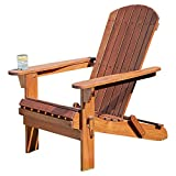 Thompson & Morgan Adirondack Folding Chair Solid Acacia Hardwood Natural Oil Finish Garden Patio Furniture