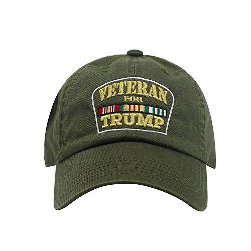 ChoKoLids Veterans for Trump Dad Hat | Cotton Baseball Cap | Snapback Flat Visor | 7 Colors (Army Green Dad Hat)