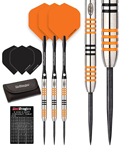 3: 22g - 90% Tungsten Steel Darts with Flights, Shafts, Wallet & Red Dragon Checkout Card (Etched Purse)