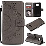 Galaxy S8 Floral Wallet Case,Galaxy S8 Strap Flip Case,Leecase Embossed Totem Flower Design Pu Leather Bookstyle Stand Flip Case for Samsung Galaxy S8-Grey
