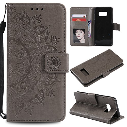 Galaxy S8 Floral Wallet Case,Galaxy S8 Strap Flip Case,Leecase Embossed Totem Flower Design Pu Leather Bookstyle Stand Flip Case for Samsung Galaxy S8-Grey by Leecase