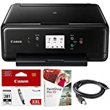 Canon PIXMA TS6120 Wireless All-in-One Compact Printer with Scanner & Copier Black (2229C002) Black Printer Ink, Corel Paint Shop Pro X9 Digital Download & High Speed 6-foot USB Printer Cable