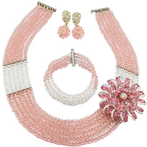 aczuv Nigerian Wedding African Beads Jewelry Set Crystal Beaded Necklace Earrings (Peach Transparent)