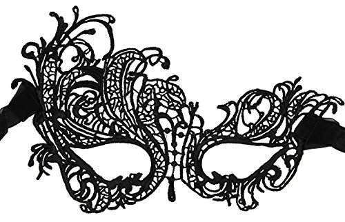 Luxury Mask Women's Lace Eye Mask For Masquerade Party Prom Ball Halloween,Black Swan Mask New,One Size -