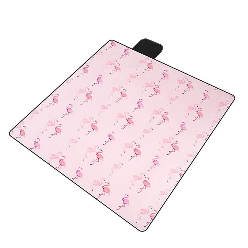 ZKKWLL Picnic Blanket Picnic Blanket 200x200 cm Flocking Flamingo Camping Beach Blanket Waterproof and sandproof Aluminum Backing, Lightweight, Suitable for Garden Beach mat by ZKKWLL