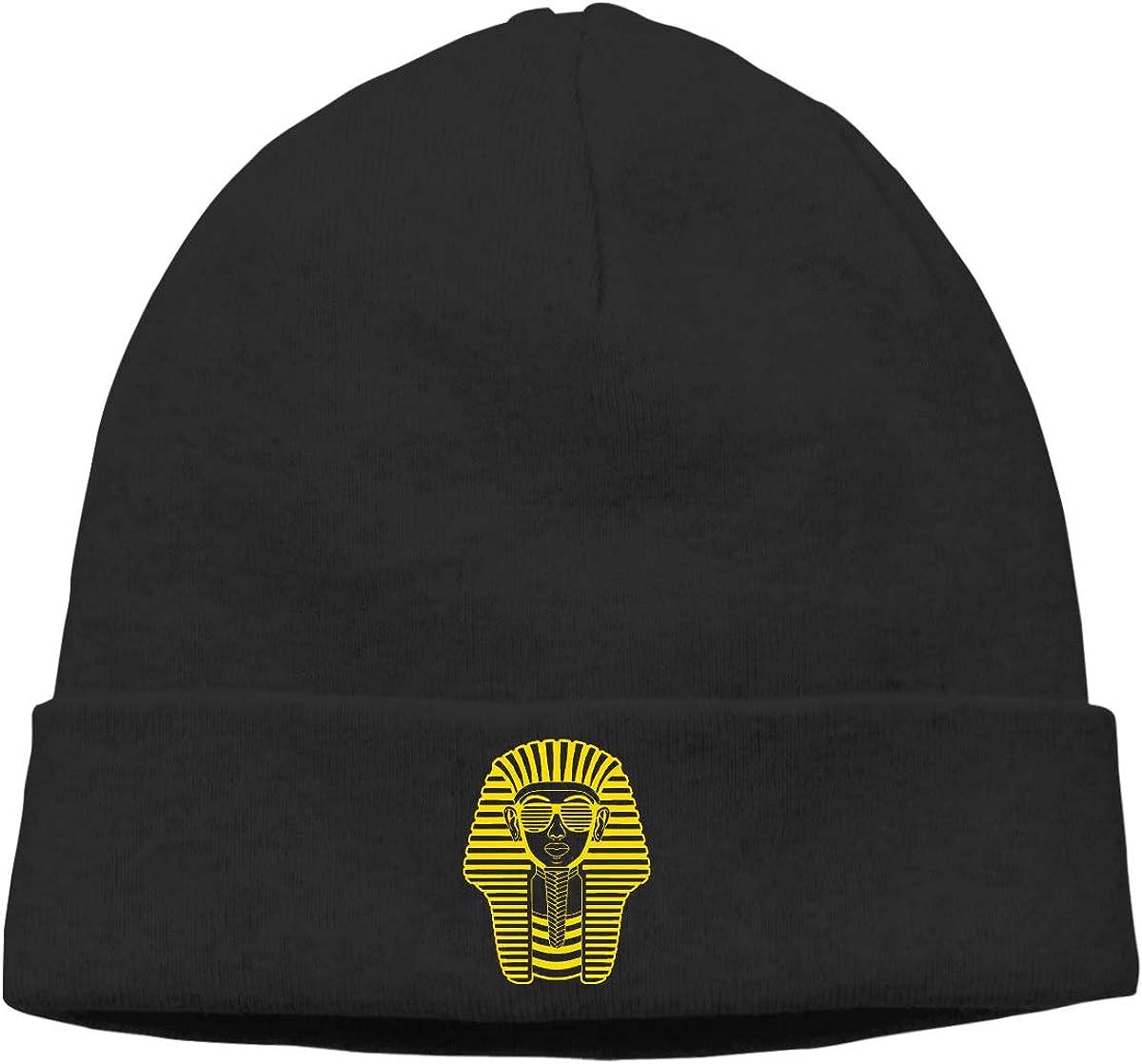 Nskngr Pharaoh of Egypt Printed Cap Unisex Cuffed Chunky Plain Skull Slouchy Beanie Hat